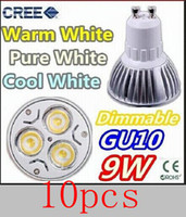 Spotlight LED 9W Free shipping 10X High power gu10 9w spotlights 110V 220V Dimmable gu10 led bulb lighting
