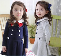 TuTu Summer Ball Gown 2014 Korean girls princess double-breasted dresses children bow cotton long sleeve one piece kids spring clothing wholesale blue grey fxygmy