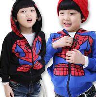 Wholesale new autumn spring kids clothes kids spiderman hoodies coats larger sizes Children Boys Jacket Spiderman Outerwear Kids hoodies hot sale