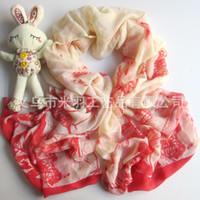 Wholesale New winter crane bird pattern printed scarves feel voile scarf original single shelf