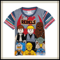 Wholesale Cartoon Character Boys T shirt New Rebels Star Wars Costume Cartoon Printed Short Sleeve Summer Tops Cotton Kids Clothes Nova C4935