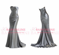 good evening - 100 good feedback silver Bridesmaid Dresses With strapless Mermaid sheath lace up back beads and sequins bodice prom evening gowns CPS050