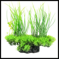 Green aquarium grasses - Decorative landscaping Ceramic Base Clover Decor Aquarium Green Plastic Grass Plant cm