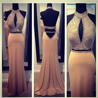 Wholesale New Arrival SexyHigh Neck Backless Sweep Train Beaded Sheath Evening Gown Formal Dress Prom Dresses