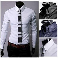 Men Cotton Casual Shirts Hot! 2014 New Men Slim Fit Silk Mens Designer Stripes Dress Shirts Tops Casual Slim long shirts 3colors M,L,XL,XXL b014 3661