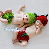 Winter apple beanie babies - Handmade Baby Hat with Diaper Cover Set Photography Props Costume Outfit Crochet Apple Design Newborn Beanie Hat H074