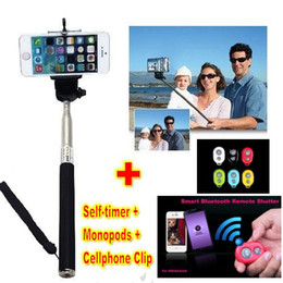 2014 New Extendable Handheld Self portrait Monopod selfie stick Photograph Bluetooth Shutter Camera Remote Controller for iPhone Samsung DHL