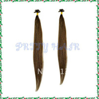 "Brazilian Hair Ombre Color Straight 3*50pcs Lot ,Color#4 18"" 20"", Fashion Flat Tip European Pre-bonded Remy Human Hair Extension,5484"