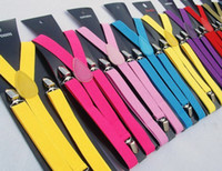 Wholesale 4 Elastic Clip on Candy color Braces Suspenders Adjustable Unisex Neon UV amp Plain Mens Ladies Fancy Dress Y back Suspenders