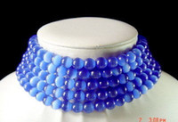 chinese jade jewelry - 5Strings Chinese Jewelry Natural Blue Opal mm Beads Necklaces The cat s eye jade