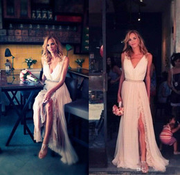 Wholesale 2014 Stuning Lace Chiffon Layers Beach Wedding Dresses V Neck Sleeveless A Line Side Slit Floor Length Bridal Gowns beads v neck zipper new