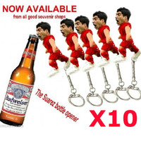 Wholesale Hot World Cup Trophy Luis Alberto Suarez Bottle Opener Vivid Bite Image Stainless Steel With Key Chain Ring New Arrival