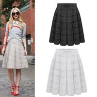 Wholesale Womens Double Layer Pleated Retro Maxi Dress Long Elastic Waist Skirt DH