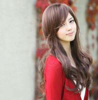 Wholesale Korean fashion Non mainstream cute sweet girls long curl wave full wigs dating costume hair black amp brown