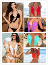 Wholesale Fashion Brand Tassel Push Up Bikini Swimwear Fringe Bathing Suit With Top and Bottom Beachwear Multicolour B4107