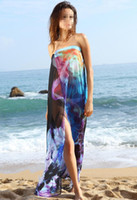 Wholesale Colorful Floral Print Beach Cover Up New women summer beachwear Beach Dress Chiffon Sarong Cool Bikini Wrap Pareo swimwear B4373