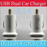 Wholesale 100PCS USAMS A USB Dual Car Charger V mah Dual Port car Chargers Adapter for iPhone S iPod iTouch HTC Samsung