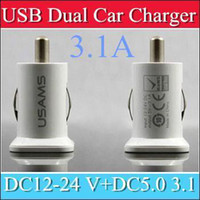 Wholesale 200PCS USAMS A USB Dual Car Charger V mah Dual Port car Chargers Adapter for iPhone S iPod iTouch HTC Samsung s3 s4 s5