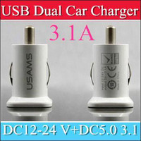 Wholesale 500PCS USAMS A USB Dual Car Charger V mah Dual Port car Chargers Adapter for iPhone S iPod iTouch HTC Samsung s3 s4 s5