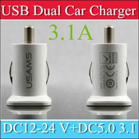 Wholesale 2000PCS USAMS A USB Dual Car Charger V mah Dual Port car Chargers Adapter for iPhone S iPod iTouch HTC Samsung s3 s4 s5