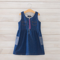 Wholesale Summer Indigo Denim Jean Skirt Floral lining Sleeveless Pocket Dress Children Girls Silk Ribbon Zipper Dresses Baby Girl Party Dresses K0030