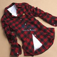 Regular 100% Cotton Full 3pcs lot Women Casual Style Button Cotton Lapel Shirt Red Plaids Shirt women Blouse M~XXL SV001033 b008