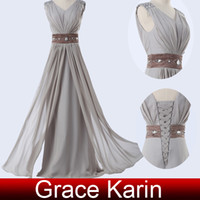 Grace Karin New Grey Color Long Maxi Chiffon Dress Evening C...