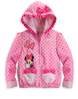Wholesale 5pcs Spring Autumn Minnie Mouse Hoodies Sweatshirt girl s jackets children baby dot pattern Sweatshirts casual kids terry hooded sweater