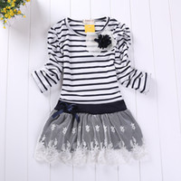 Wholesale 2014 Girl Dress Tutu Skirt Dress Design for Kids Baby long sleeve stripe Baby Girl Party Dress Birthday Dress kids dress with LACE Striped