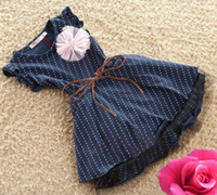 Wholesale Sweet One pieces Baby Girls Princess Summer Party Dresses Polka Dot Wedding Skirt Y