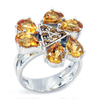 Cluster Rings Mexican Women's Feelcolor ON SALE Fine Jewelry HUGE 5ct NATURAL Citrine Ring 925 Sterling Silver Free Shipping