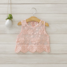Wholesale Newest Children Girls Fashional Embroide Flower Sleeveless vest Tank Top Kid s White Pink Color Round Neck Pearl Botton Smock Overall K0031