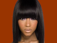 Wholesale Cheap Indian Human Hair front lace wig glueless full lace human hair wigs with bangs Natural Color