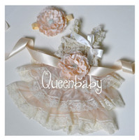 Wholesale Ivory Petti Lace Dresses Matching Baby Headband and Flower Sash Belt Vintage Chic Set sets