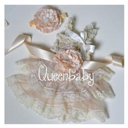 Ivory Petti Lace Dresses Matching Baby Headband and Flower Sash Belt Vintage Chic Set 4 sets lot