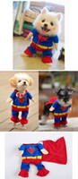 clothing dog - Hot Sales New Pet Cat Dog Puppy Superman Clothes Costumes Suit Cosplay Party Dress Up wx76