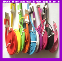 Cheap 30pcs lot fast shipping 1M Flat Micro USB Cable Data Sync Charger Cable For android phones
