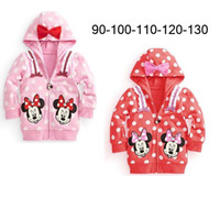Cheap 5pcs lot Spring Autumn Minnie-Mouse Hoodies Sweatshirt girl's jackets children baby dot pattern Sweatshirts kids hooded bow sweater