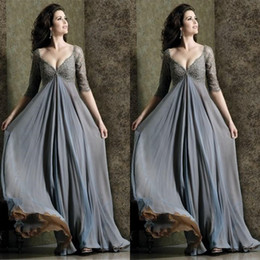 2015 Grey V-neck Long Chiffon Mother of the Bride Dresses Free Shipping top Lace Charming Party Gowns Plus Size