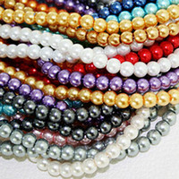 pearl bead ball - Hot Selling Strands approx Glass Imitation Pearl mm Round Beads Smooth Ball Spacer Loose Beads Fit Necklace Bracelet BBD011