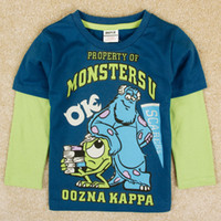 Wholesale nova brand new designer baby boy clothing Monsters University cartoon t shirts long sleeve shirts jumping beans t shirt blue A5090Y