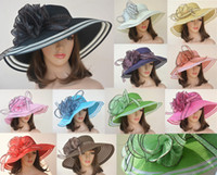 Red women straw hats - A115 New style Women Dress Church Wedding Kentucky Derby Wide Brim Straw Summer Beach Hat for women