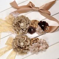 beige canvas belt - Beige Sash Matching Baby Headband Flower Sash Peony Flower Belt Feather Belt Maternity Sash Set