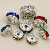 Wholesale Hot DIY mm Crystal Spacer Beads Silver Plated Charms Rhinestone Loose Beads Jewelry Findings BJA018