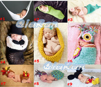 Boy Winter Crochet Hats Crochet Knit Baby Newborn Photography Props Costume Toddler Hammock Cocoon Set Owl Beanies Animal Photo Props 5sets SG045