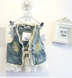 Wholesale Fashion denim vest new spring summer Children s girls babys princess cotton jean hollowed out flower lace waistcoat outwear coat A4162