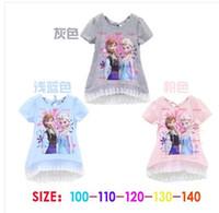 Wholesale 5 New Baby Girls Frozen Girl T Shirt Kids Short Sleeve T shirt Children Frozen T Shirt One Piece