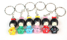 Free Shipping ,Wholesale 600pcs lot ,Mobile Phone Charms, Japanese Oriental Kokeshi Doll PVC Cell Phone Straps KeyChain(1set =6pcs )