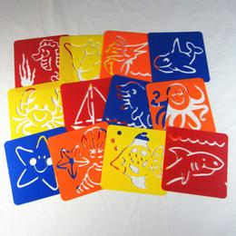 Wholesale 12pieces set Ocean Animal Theme Washable cm Kids Plastic Picture drawing template Children stencils for painting