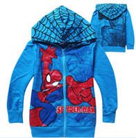 Jackets new design men jacket - 2014 New Design Autumn Children Boys Long Sleeve Outwear Spider Man Printed Zipper Jacket Cotton Coat Child Outwear M0219